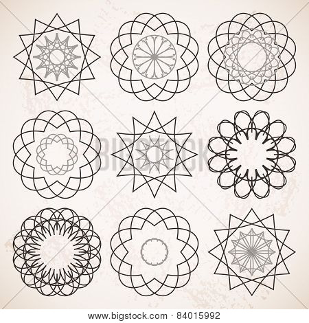 Round Ornaments Set Over Beige Vintage Background