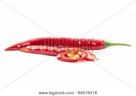 Sliced Of Red Chili Pepper With Raw Material