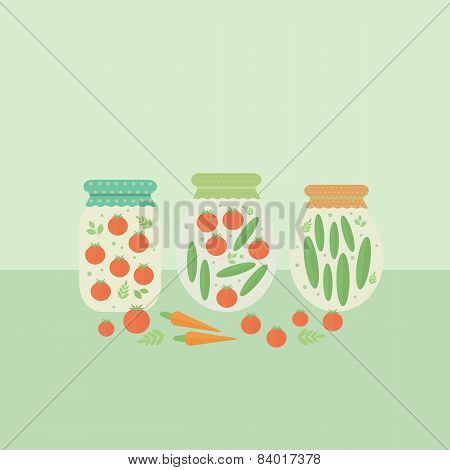 Card With Glass Jars Preserves. Vector Illustration