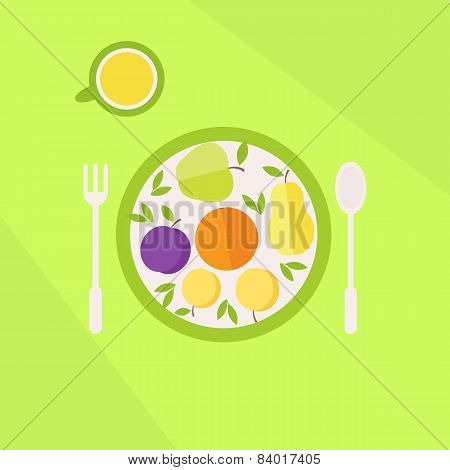 Plate With Fruits And Glass Of Juice On A Table. Vegetarian Food Concept