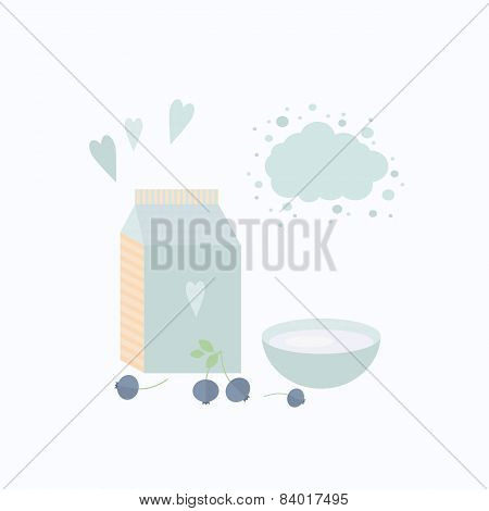 Vector Illustration With Yoghurt And Berries On A Table