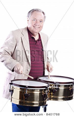 Timbale Player Isolated On White