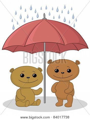 Teddy bears and umbrella
