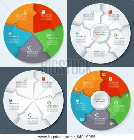 Set of modern minimal infographics circles