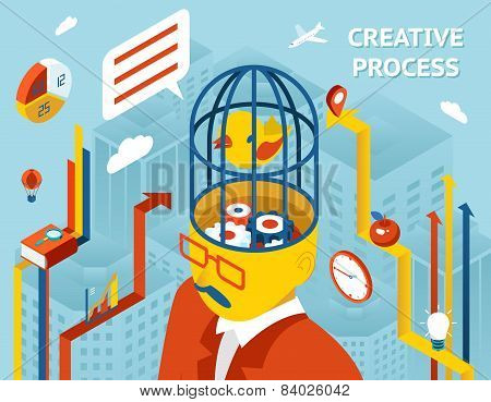 Creative process. Gears in human head