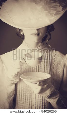 Beautiful Women With Cup Of Tea