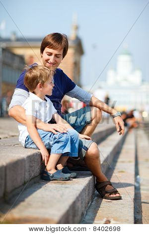 Father And Son Enjoying Day Out In City Center