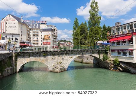 The Old Bridge Called Pont Vieux In Lourdes