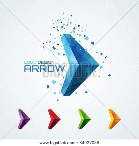 Abstract triangular arrow logo