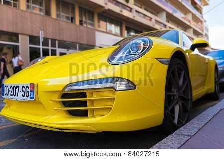 Parked Yellow Porsche 911