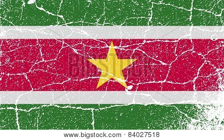 Flag Of Suriname With Old Texture. Vector