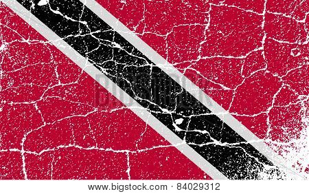 Flag Of Trinidad And Tobago With Old Texture. Vector