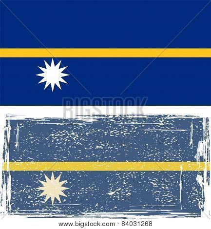 Nauru grunge flag. Vector illustration