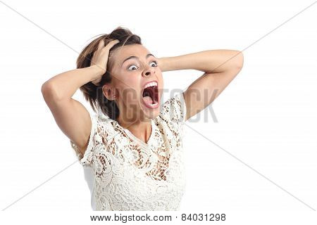 Scared Crazy Woman Crying With Hands On Head