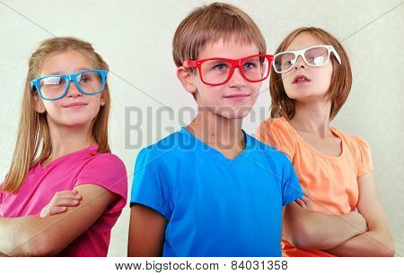 Group Of Cute Kids With Eyeglasses