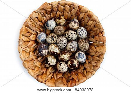quail eggs in basket, isolated on white background