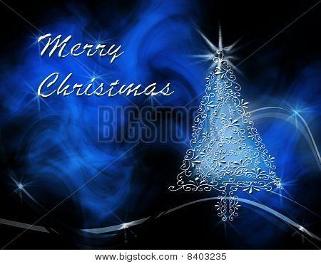 Weihnachtsbaum auf Blue swirl wellig Hintergrund mit 'merry Christmas'