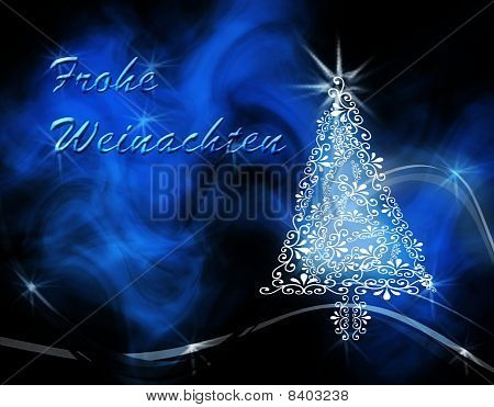 Christmas tree on blue swirl wavy background with 'Frohe Weinachten'