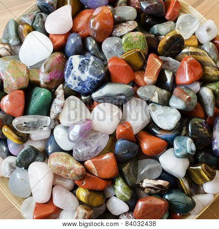 Colorful semi precious stones background