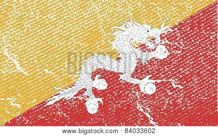 Flag Of Bhutan With Old Texture. Vector
