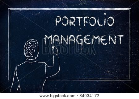 Teacher Or Ceo Explaining About Portfolio Management