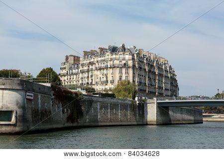 Seine River and famous Cite Island. Paris France