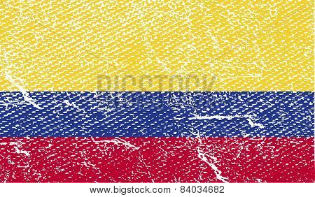 Flag Of Colombia With Old Texture. Vector