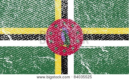 Flag Of Dominica With Old Texture. Vector