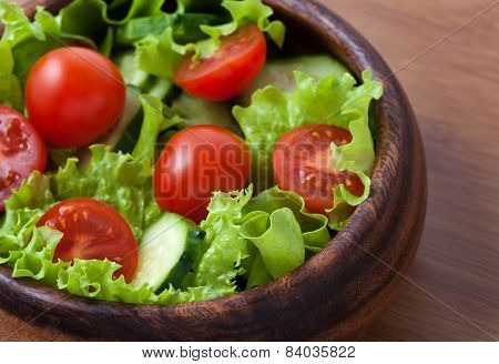 Spring Healthy Vegetarian Salad With Tomatoes And Cucumber