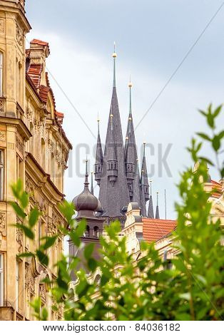 Church of Our Lady before Tyn towers in Prague
