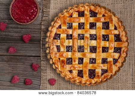 Raspberry Pie With Fresh Raspberries. Top View