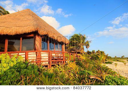 tropical pavillion on the beach of Carribean sea