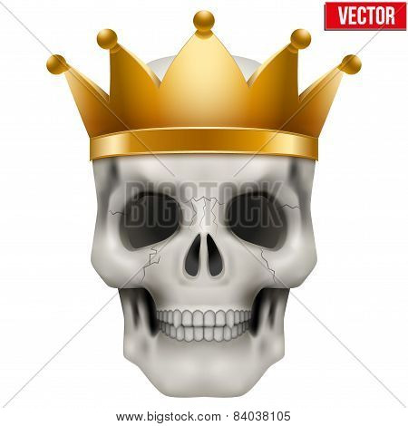 Vector Human skull with king gold crown