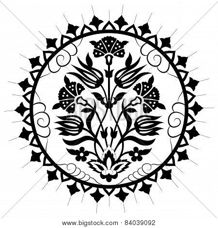 Black Artistic Ottoman Pattern Series Seventy
