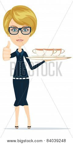 Young waitress carries drinks, vector illustration