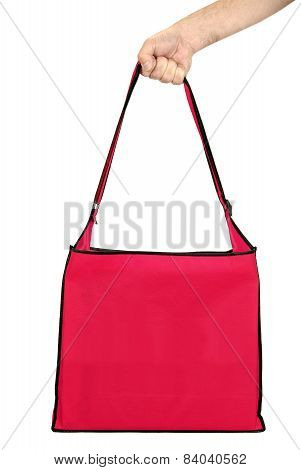 Hand Holding Big Blank Red Shopping Bag