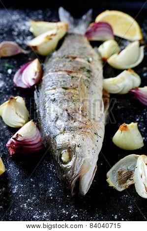 Roasted Sea Bass On A Dark Tray