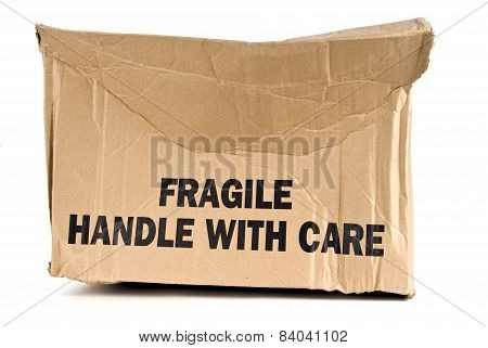 Fragile Brown Box Crushed