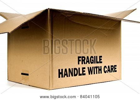 Cropped Opened Fragile Brown Box