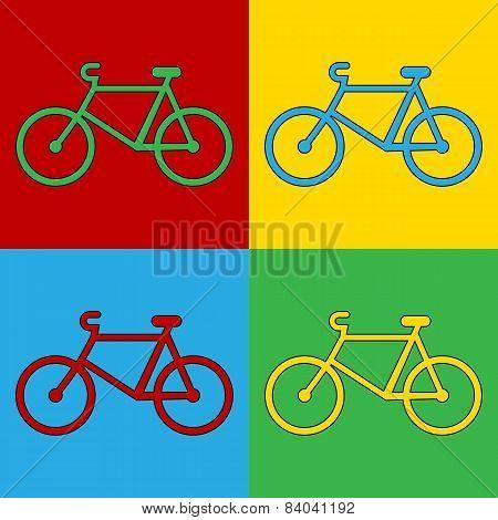 Pop Art Bike Symbol Icons.