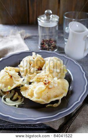 Homemade Vareniki (dumplings) On A Plate
