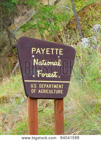 Payette National Forest Sign