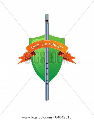 Irish Tin Whistle On Shield