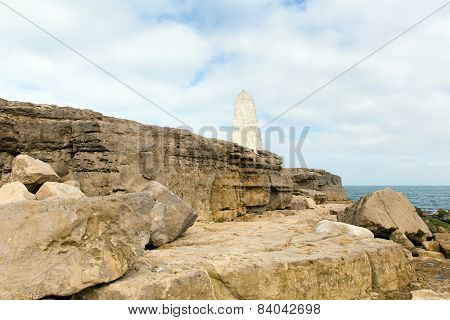 Obelisk Portland Bill Isle of Portland Dorset England UK south of the island warns ships of rocks