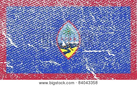 Flag Of Guam With Old Texture. Vector