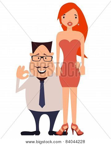 Couple. Rich businessman and his beautiful wife. Vector illustration