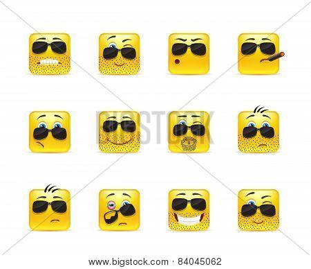 Set Inspirational Bearded Emoticons