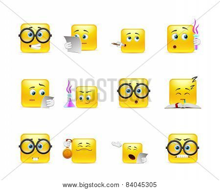 Set Of Emoticons For Students