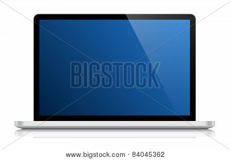 Glossy Laptop Isolated On White