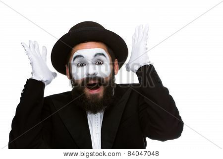 Portrait of the surprised and joyful mime with open mouth